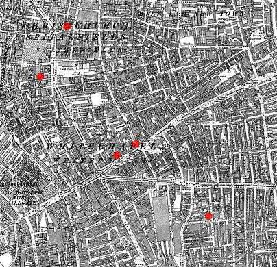 The sites of the first seven Whitechapel murders